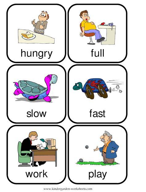 printable word flashcards for toddlers kindergarten worksheets flashcards opposite words