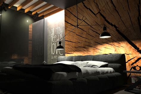black bedroom with wood wall decor by oes architekci