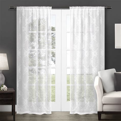 Sheer Panel Curtains Exclusive Home Seville Embroidered Semi Sheer Rod Pocket Window Curtain Panels Set