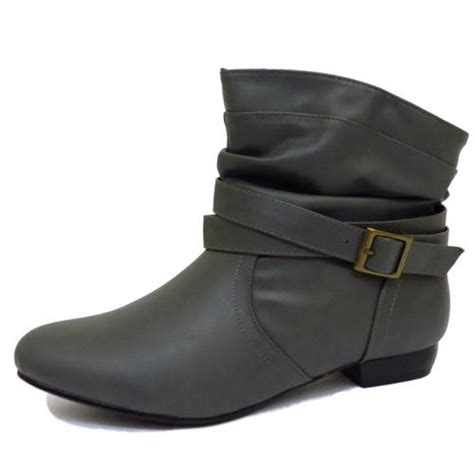 flat grey buckle pull on pixie biker ankle slouch