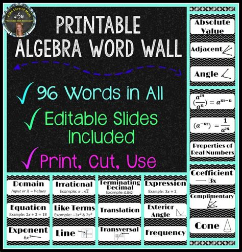 word wall template printable 1000 ideas about algebra bulletin boards on