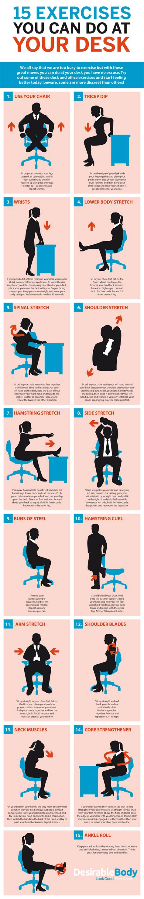 Office Workouts At Desk Deskercise 15 Simple Exercises You Can Do At Your Desk Diy Genius