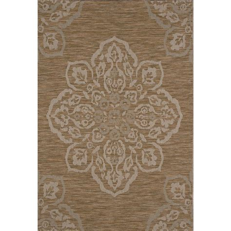 area rugs indoor outdoor hton bay medallion mustard 5 ft x 7 ft indoor outdoor area rug 471850581602251 the home depot