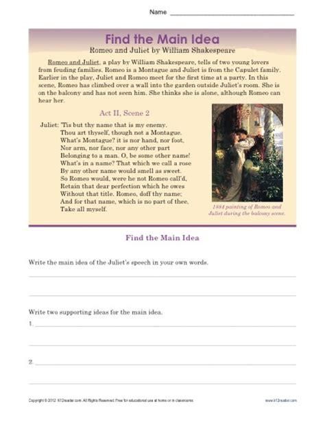 romeo and juliet themes worksheet answers high school main idea worksheet about romeo juliet