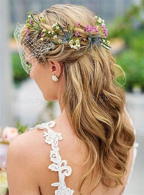 Wedding Hairstyles With Veil And Flower by Floral Hair Pieces For Brides Floral Wreath With