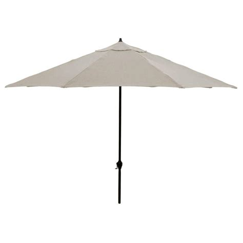 Gray Patio Umbrella Hton Bay 11 Ft Aluminum Patio Umbrella In Gray 9111 01407200 The Home Depot