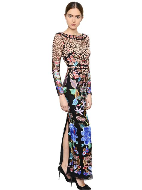 Embroidered Sleeve Dress lyst temperley embroidered mesh sleeve dress
