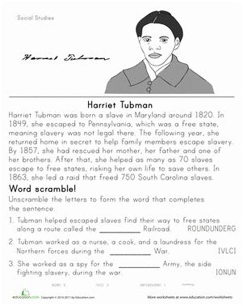 harriet tubman biography for third graders 17 best ideas about harriet tubman biography on pinterest