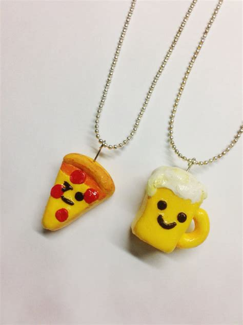 items similar to set of 2 bff necklaces pizza and
