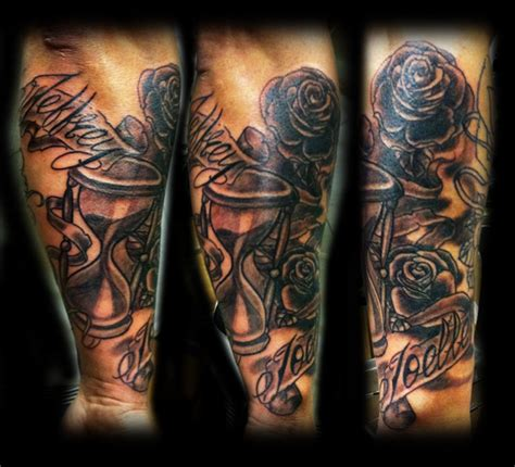 hourglass roses and names by wildthingstattoo on deviantart