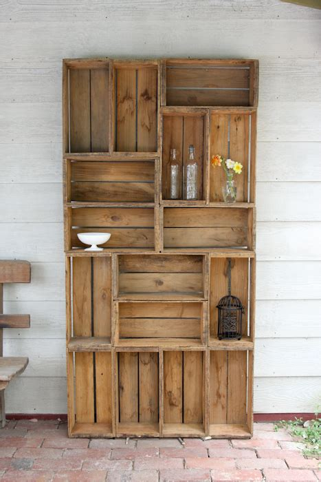 bookshelf out of wooden crates diy and crafts