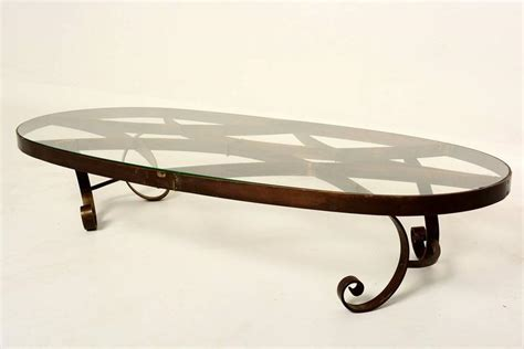 mexican modernist oval coffee table in brass for sale at
