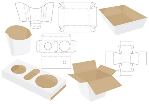paper food tray template die cut food packages free vector stock