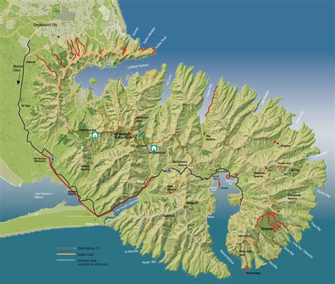 peninsula map greater banks peninsula walks banks peninsula walks