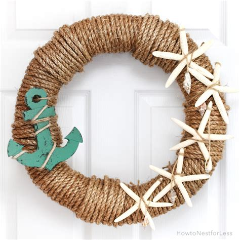 Ocean Themed Bedroom rope nautical wreath how to nest for less