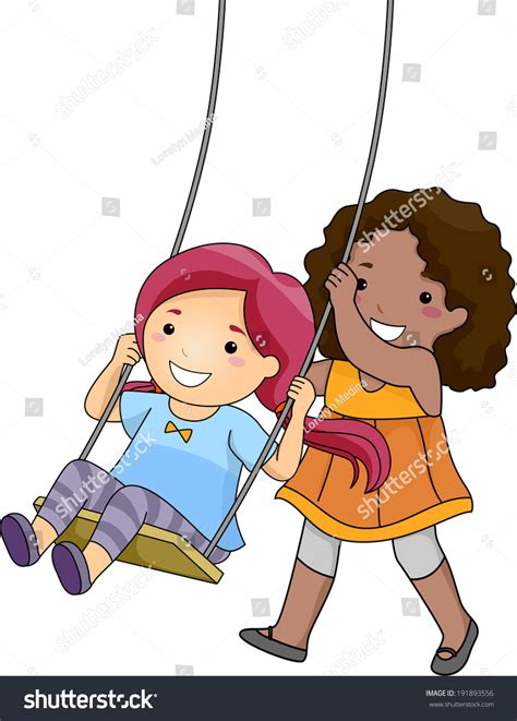 pushing a swing illustration little girl pushing her friend stock vector