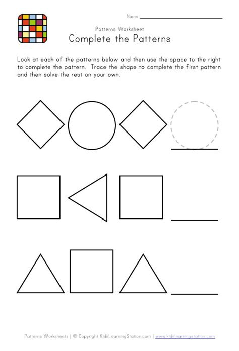 pattern exercises kindergarten kindergarten pattern worksheets easy preschool patterns