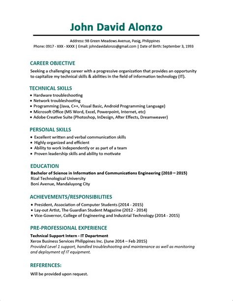 cv template for graduates sle resume format for fresh graduates one page format jobstreet philippines