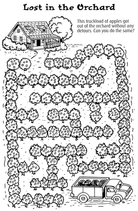 coloring activity pages lost   orchard maze