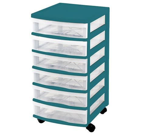 Storage Bins With Drawers And Wheels Clear Floor Storage 6 Drawers W Wheels Assorted
