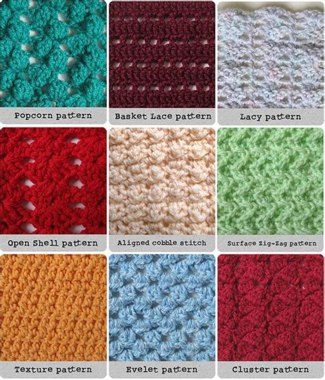 pattern types different crochet stitches crochet tutorials pinterest