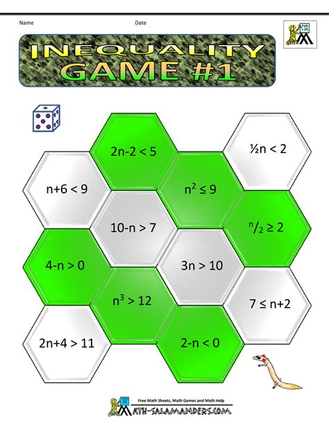 printable games algebra algebra math games