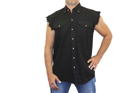 Basic Sweater Polos Size M Xl mens biker black basic sleeveless denim shirt m l xl 2x 3x