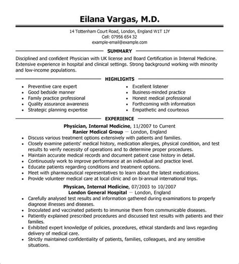 doctor resume template physician resume template doctor