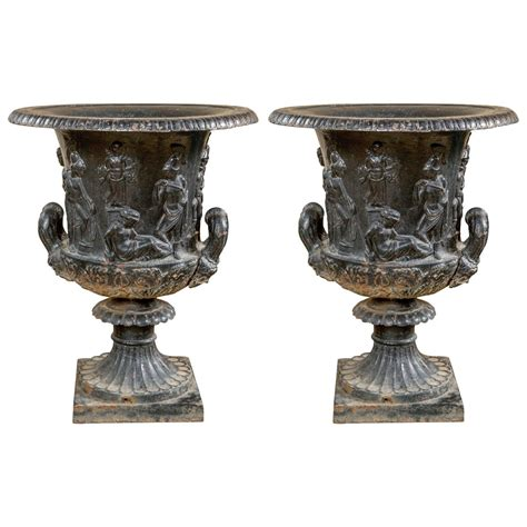 Garden Urns For Sale by Pair Of 19th Century Continental Cast Iron Garden Urns For