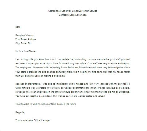 appreciation letter on service thank you letter for appreciation 7 free sle
