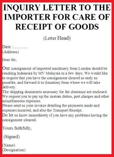 Inquiry Letter Of Goods inquiry letter to the importer for care of receipt of