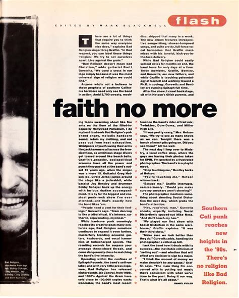No More In The Media by Faith No More Media The Bad Religion Page Since 1995