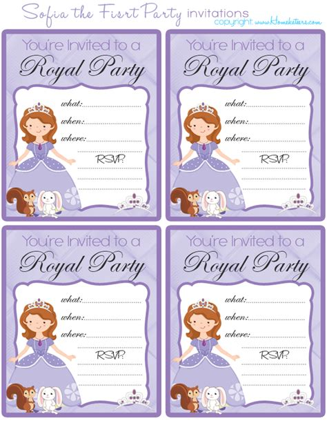 printable invitations of sofia the first sofia the first free printable party set