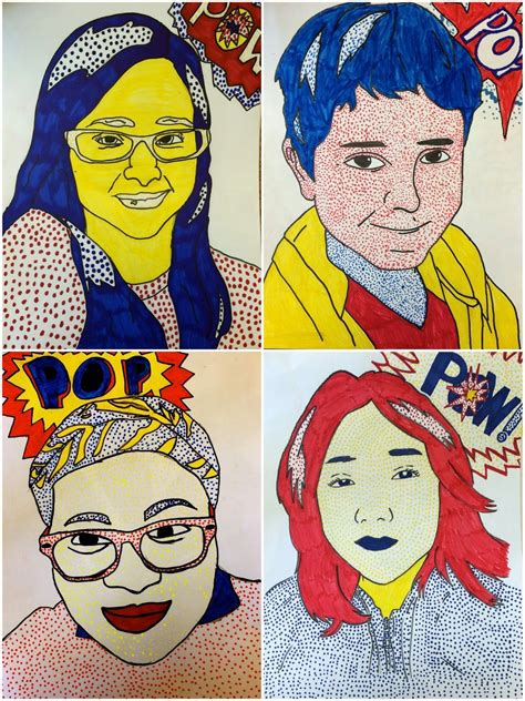 Drawing 6th Class Ki by 6th Grade Roy Lichtenstein Self Portraits Exploring