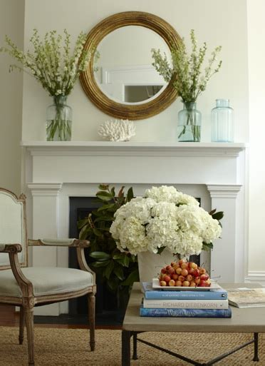 Pinecone Vase Mirror Above Fireplace Cottage Living Room Lynn