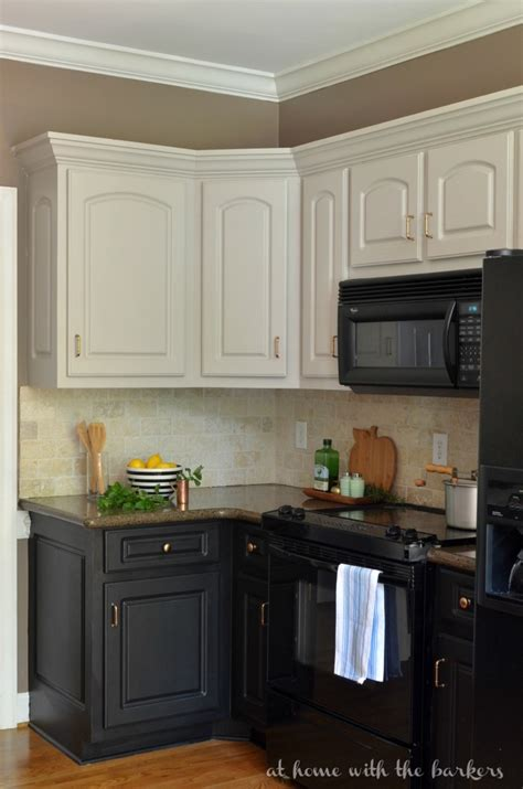 Can You Paint Kitchen Cabinets Two Colors In A Small Kitchen The Decorologist Remodelaholic Diy Refinished And Painted Cabinet Reviews