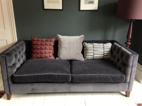 black velvet tufted sofa furniture cyprian grey velvet sofa with black wood legs