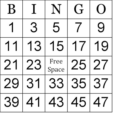printable numbers bingo printable birthday cards printable bingo cards september 2017