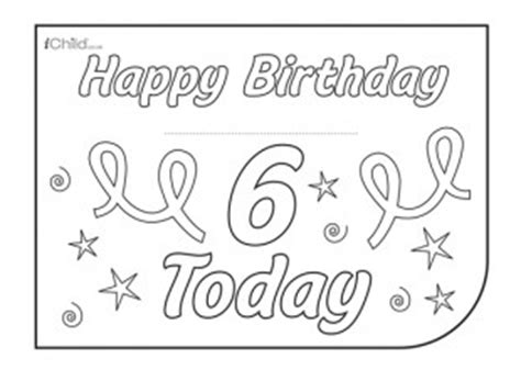 6 year birthday card template birthday card design template for 6 year 6th birthday