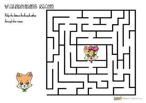printable cat maze valentine s day maze activity get the animals to their