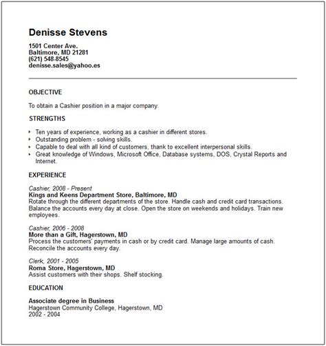 Resume For Cashier Position With No Experience Cv Exles With Work Experience