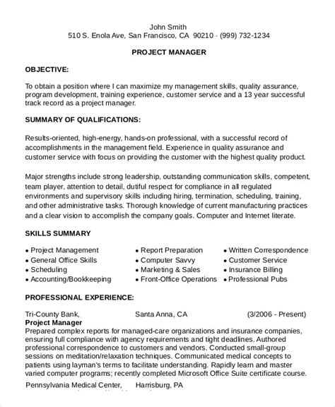 management resume exle exle project manager resume 28 images infrastructure
