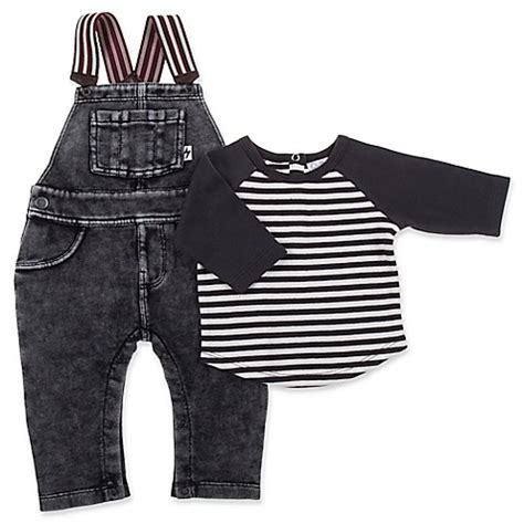 Overall Black Set quiltex 2 acid wash overalls and shirt set in black