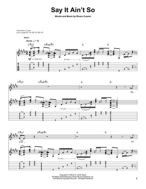 say it aint so say it ain t so sheet music by weezer guitar tab play