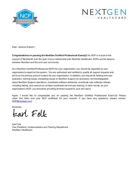 certification congratulation letter jessy graham ncp epm