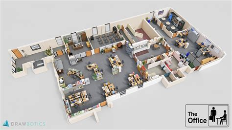 layout of the office 3d floorplan of the office dundermifflin