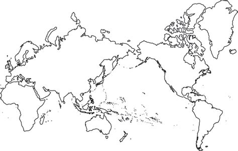 Printable World Map Pacific Centered | blank world map asia centered
