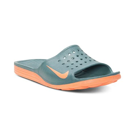nike sandals for nike benassi solarsoft slide sandals in green for