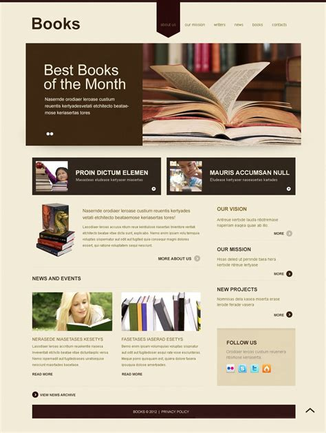 free templates for books websites book reviews joomla template 40802