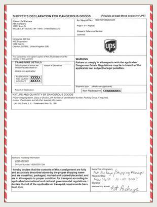 section 8 paperwork ups shipper s declaration iata